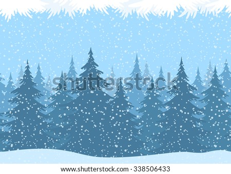 Seamless Horizontal Christmas Winter Forest Landscape with Snow and Fir Trees and Branch Silhouettes.