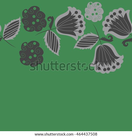 Seamless horizontal pattern of floral motifs, doodles,  object,leaves, flowers, spirals, stripes,ellipses, bell, spot. Hand drawn.