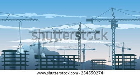 Seamless horizontal pattern with building yard and cranes. - stock photo