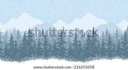 Seamless horizontal winter mountain landscape with fir trees and snow, silhouettes - stock photo