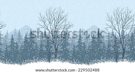 Seamless horizontal winter mountain landscape with trees and snow, silhouettes. - stock photo