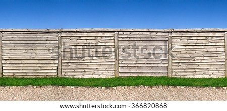 Seamless horizontally wooden fence, clipping path included - stock photo