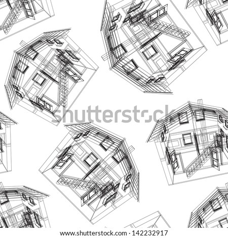 Seamless house pattern.  illustration.