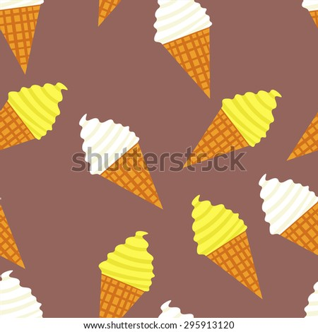 Seamless ice cream pattern. Desert elements background. Ice cream cone. Food texture