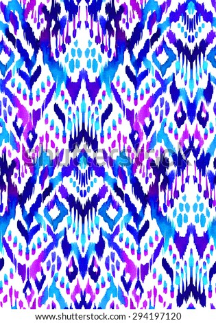 seamless ikat textile pattern. beautiful geometric abstract shapes, allover design. hand drawn ethnic motifs.  - stock photo