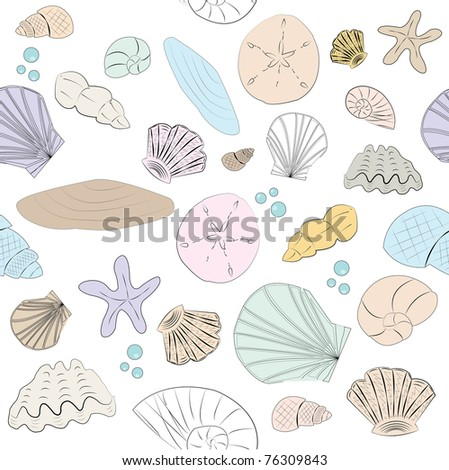 Seamless illustration of pastel shells - stock photo