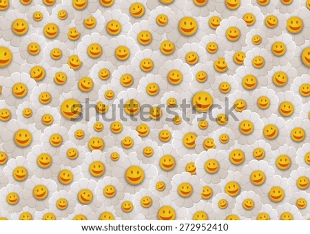 Seamless Illustration of smiling flowers - stock photo