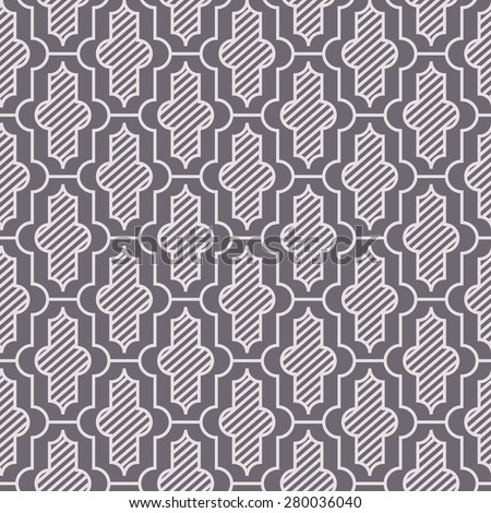 Seamless inverse black and white vintage moroccan pattern - stock photo