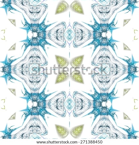 Seamless kaleidoscope texture or pattern in blue and green  - wallpaper pattern - stock photo