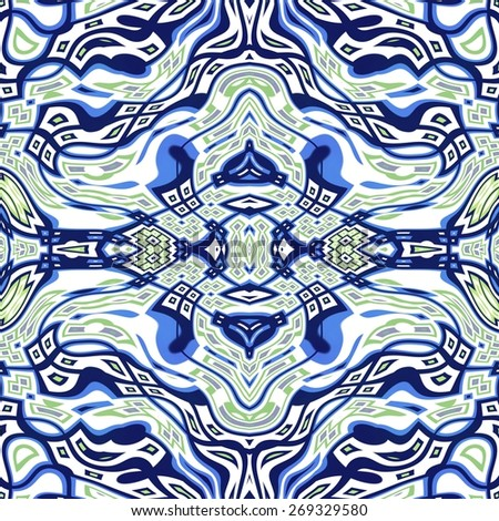 Seamless kaleidoscope texture or pattern in blue, white and green 1 - wallpaper pattern - stock photo