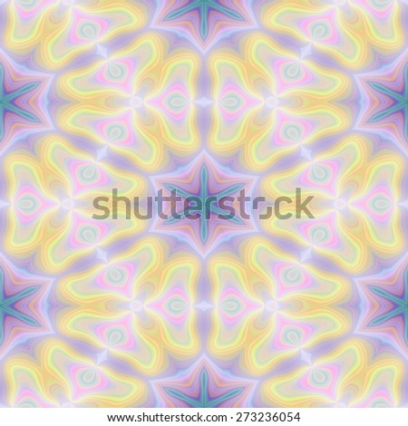 Seamless kaleidoscope texture or pattern in pastel colors 2 - wallpaper pattern - stock photo