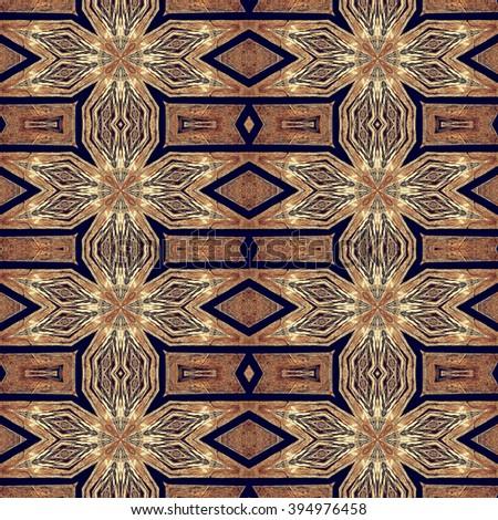 Seamless kaleidoscopic wallpaper tiles pattern based on natural wooden texture, inlay - stock photo
