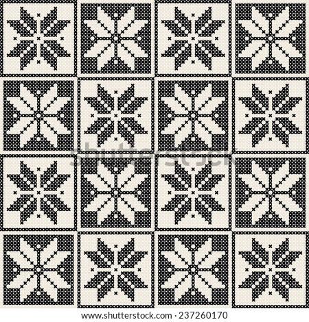 Seamless knit pattern, embroidery design - stock photo
