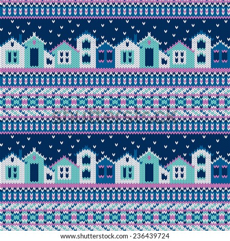 Seamless knitted pattern with houses and snowflakes in ethnic style - stock photo
