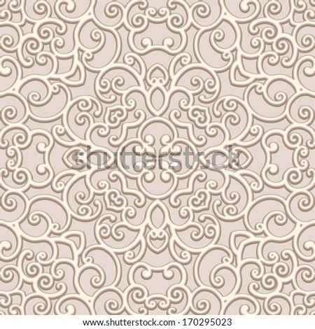 Seamless lace pattern, vintage beige ornament, raster background