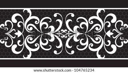 Seamless lace stripe on black background. Vector version available in my portfolio - stock photo
