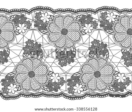 Seamless lace tape. Grid and floral elements isolated on white background. Rasterized version. - stock photo