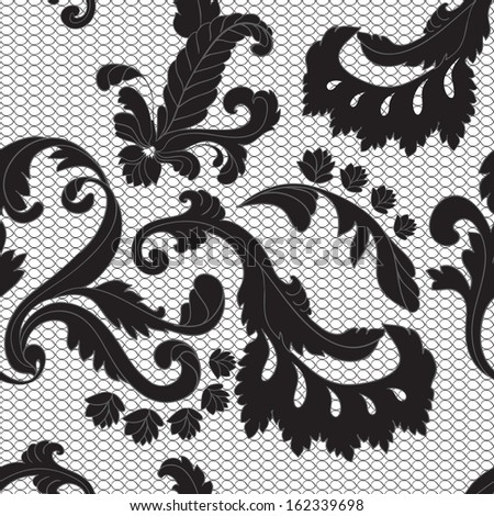 seamless lacy black background. Abstract vintage background - stock photo