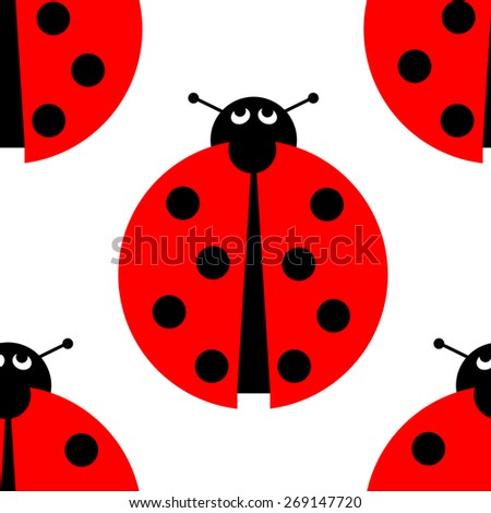Seamless ladybug background on white. - stock photo