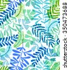 seamless leaves ditsy pattern. naive hand drawn imaginary leaves and branches overlapping in a beautiful layout.  colorful illustration - stock vector