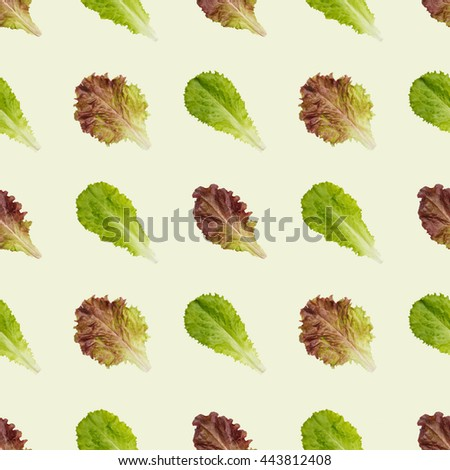 Seamless lettuce leaves pattern background. Combine to create endless size image - stock photo