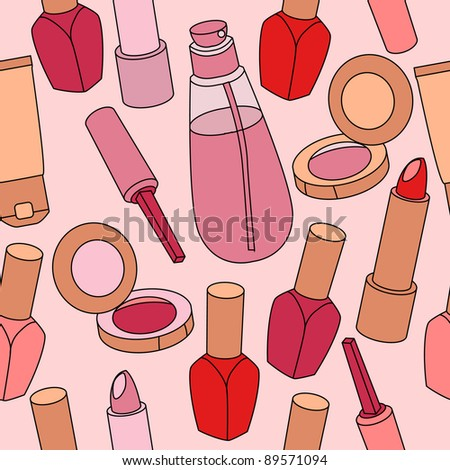 Seamless light pink pattern with various cosmetics. Raster version.