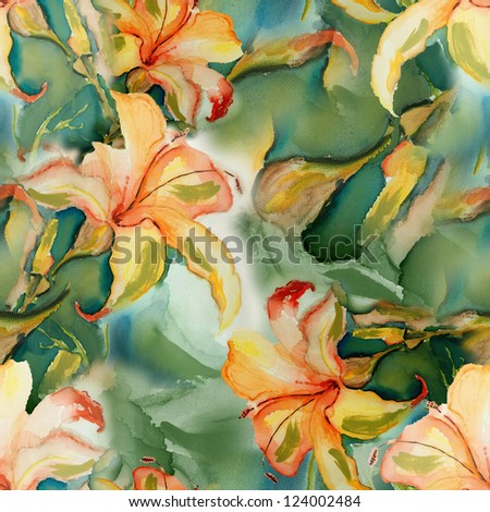 Seamless Lily Background - stock photo