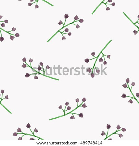 Seamless little flowers pattern, floral watercolor painting on isolate backgrounds.