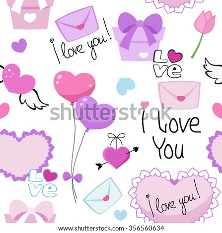 Seamless love romantic valentine hearts background pattern with lovers text. Raster copy. - stock photo