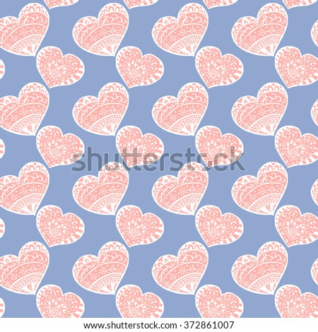 Seamless lovely gentle heart pattern. Holiday texture in pastel colors