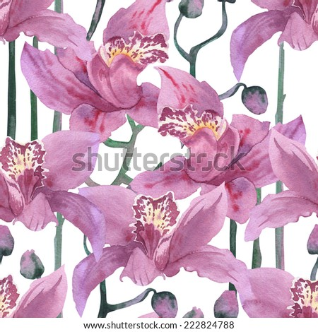 seamless lovely orchids on a white background, seamless texture floral ornament. pattern of tropical flowers. watercolor orchid,  - stock photo