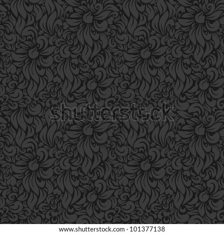 Seamless Luxury floral background. Gray on Dark - stock photo