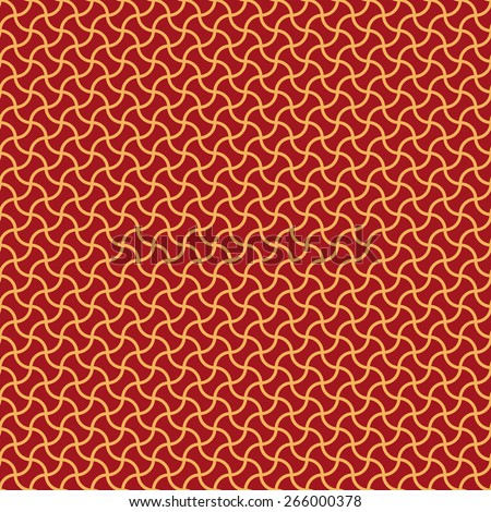 Seamless luxury red and gold arc based geometric pattern - stock photo