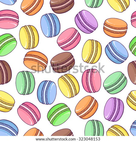 Seamless macaroon pattern on white background. Great to promote your business or for packaging