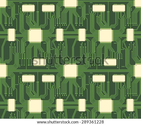 Seamless microchip industrial electronic circuit pattern. System background, industry technology, chip and network - stock photo