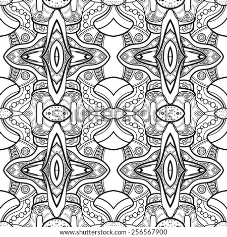Seamless Monochrome Abstract Pattern. Hand Drawn Texture
