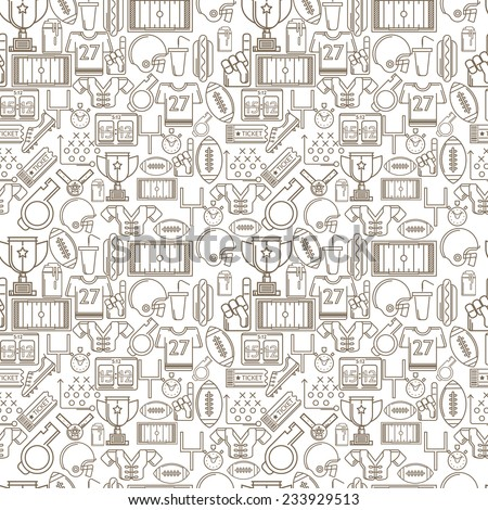 Seamless monochrome background for American football. Seamless pattern with brown outline elements or symbols for American football on white background.