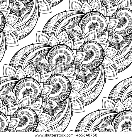 Seamless Monochrome Floral Pattern. Hand Drawn Floral Texture, Decorative Flowers, Coloring Book. Floral Lace for Your Design