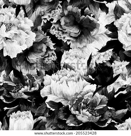 Seamless monochrome floral pattern with roses on dark background, watercolor. - stock photo