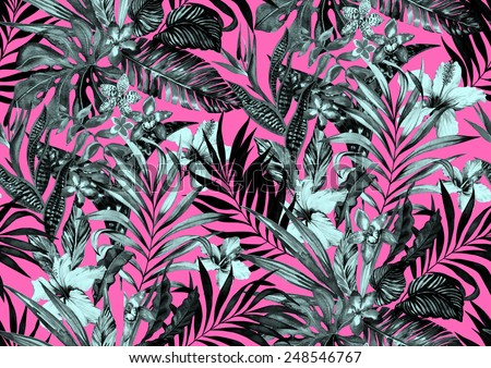 Seamless Monochrome Jungle Pattern Tropical Flowers On Neon Background In Black And White Midnight