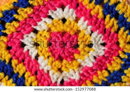 Seamless multicolored knit pattern - stock photo