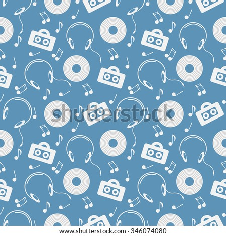 Seamless music raster  pattern, chaotic background with music player, headphones, notes, record, over blue backdrop - stock photo