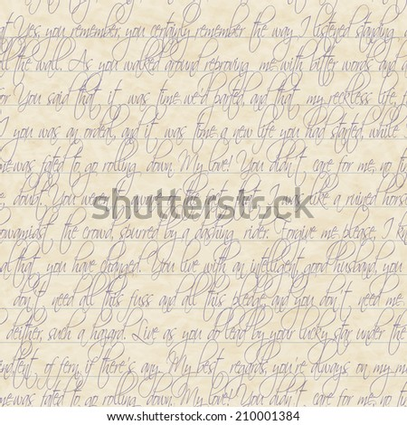 Seamless of handwritten text on old paper - stock photo