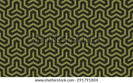 Seamless olive green isometric hexagonal symmetry medieval pattern - stock photo