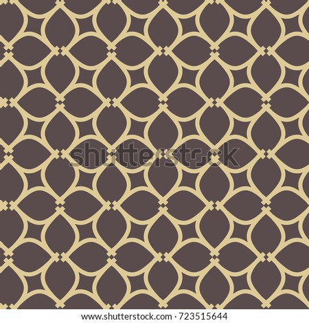 Seamless ornament in arabian style. Geometric abstract brown and golden background. Pattern for wallpapers and backgrounds