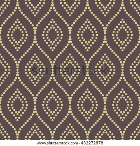 Seamless ornament. Modern geometric pattern with golden repeating wavy lines - stock photo