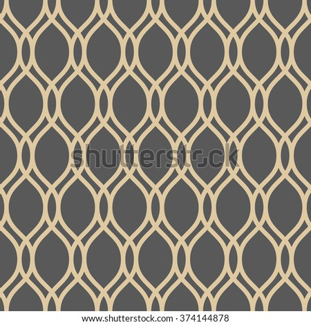 Seamless ornament. Modern stylish geometric pattern with repeating vertical golden wavy lines - stock photo