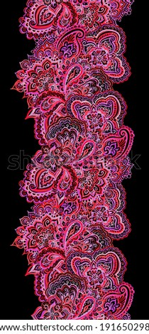 Seamless ornamental  border stripe with bright pink Indian paisley ornament on black - stock photo