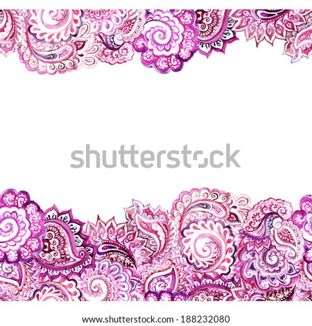 Seamless ornamental horizontal banner frame with oriental asian ornament. Aquarelle lace design - stock photo
