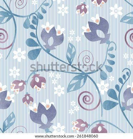 Seamless ornamental pattern decoration elements texture blue background - stock photo